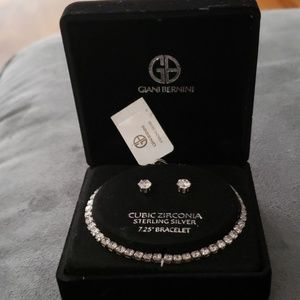 NEW Giani Bernini CZ SS Tennis Bracelet & Earrings